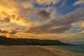 Dramatic Colorful Clouds After Sunset. Amazing View On The Dramatic Sunset Sky. poster