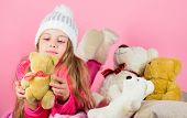 Bears Toys Collection. Kid Little Girl Play With Soft Toy Teddy Bear Pink Background. Teddy Bears Im poster