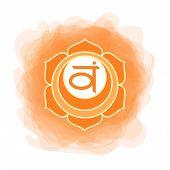 Swadhisthana Icon. The Second Sacral Chakra. Vector Orange Smoky Circle. Line Symbol. Meditation Sig poster