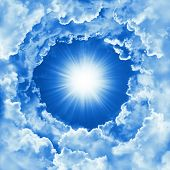 Sky With Beautiful Cloud And Sunshine. Religion Concept Heavenly Sky Background. Sunny Day, Divine S poster