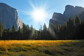 Grandiose landscape in a valley world-wide well-known Yosemite park. Sunrise, autumn