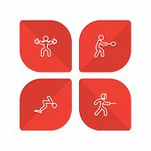 Set Of 4 Athletic Icons Line Style Set. Collection Of Fencing, Diving, Weightlifting And Other Eleme poster