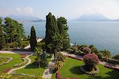 Northern Italy, Lake Maggiore. A masterpiece of landscape art. Beautiful park on the island of Isola Bella.