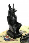 pic of embalming  - Figurine of egiptian god Anubis. 