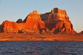 Magnificent red sandstone cliffs on the shores of Lake Powell. Arizona, United States