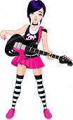 Cool rock star girl playing guitar