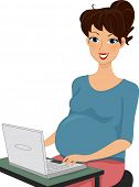 Illustration of a Pregnant Woman Using a Laptop
