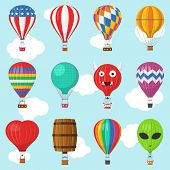 Aerostat Balloon Transport With Basket Set Flying In Sky, Cartoon Air-balloon Different Shapes Ballo poster