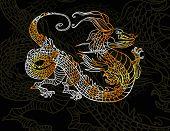 Dragon on dark background eps 10