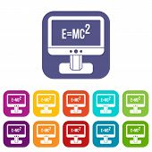 Monitor With Einstein Formula Icons Set Illustration In Flat Style In Colors Red, Blue, Green, And O poster