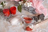 Spa Set: Scented Candle, Sea Salt, Liquid Soap And Romantic Red Roses poster