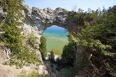 Mackinaw Island Arch Rock. The Famous Natural Landmark Arch Rock Is An Ancient Geological Formation  poster
