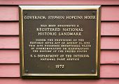 Governor Stephen Hopkins House and museum National Historic Landmark marker