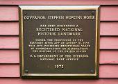 Governor Stephen Hopkins House and museum National Historic Landmark marker poster