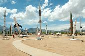 foto of missles  - White Sands Missile Range Museum outdoor missle and rocket display - JPG