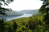 an overlook of the Allegheny National Forest and reservoir
