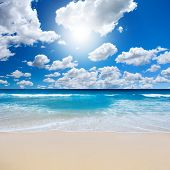 picture of summer beach  - Bright afternoon sun during summer at the beach - JPG