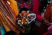 HARIDWAR, INDIA - JANUARY 14: Bride and relatives wait for the arrival of the groom in a traditional