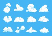 Cartoon Clouds. Blue Sky Panorama Heaven Atmosphere Vintage 2d Fluffy White Element Flat Cloudy Shap poster