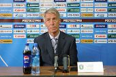 TOMSK, RUSSIA - SEPTEMBER 20: Valery Nepomnyashchiy - head coach of FC Tom (Tomsk), at a press conference after the match Tom'(Tomsk) - Rubin (Kazan), September 20, 2009 in Tomsk, Russia.