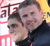 MOSCOW, RUSSIA - FEBRUARY 23: Racing drivers Vitaly Petrov(L) and David Coulthard(R) during the 21st