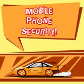 Handwriting Text Writing Mobile Phone Security. Concept Meaning Secure Data On Mobile Devices Wirele poster