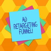 Handwriting Text Ad Retargeting Funnel. Concept Meaning Aiming Relevant Ads To Those Have Visited Yo poster
