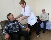 PODPOROZHYE, RUSSIA - JUNE 4: Day of Health in Center of social services for pensioners and the disa