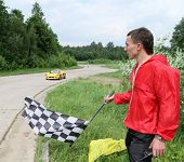 DMITROV, RUSSIA - JUNE 13: The finish line (Lotus Exige) at Championship 'Rus Hill climb Open' at av