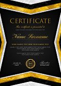 Certificate Template With Geometry Silver And Golden Frame With Gold Badge. Black Background Design  poster