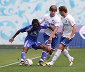 MOSCOW - JULY 3: Dynamo Kyiv's midfielder Frank Temile (left) in the VTB Lev Yashin Cup: FC Dynamo Moscow vs. FC Dynamo Kyiv (2:0), July 3, 2010 in Moscow, Russia.