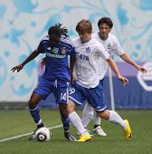 MOSCOW - JULY 3: Dynamo Kyiv's midfielder Frank Temile(L), Moscow forward Kokorin(C), D'Moscow defender Leandro Ferna¡ndez(R) in the game Dynamo Moscow vs.Dynamo Kyiv, July 3, 2010 in Moscow, Russia.