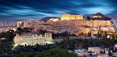 Parthenon Of Athens At Dusk Time, Greece  - Long Exposure poster
