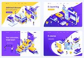 Set Isometric Concept Template Design E-education Or Tradition Education, Students Around The World  poster