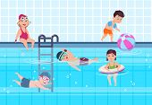 Kids In Swimming Pool. Boys And Girls In Swimwear Play And Swim In Water. Happy Childhood Vector Sum poster