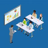 Isometric Presentation At The Economic Forum, Economics Lesson Or Business Conference Vector Concept poster