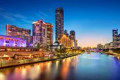 Melbourne. Cityscape Image Of Melbourne, Australia During Twilight Blue Hour. poster