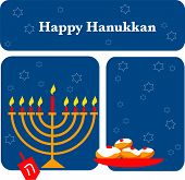 vector illustration of menorah and Hanukkah