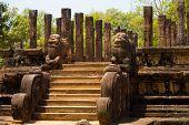 Front Audience Hall Polonnaruwa Ruins Angled