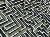 comics-style closeup illustration of a labyrinth