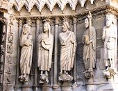 Statues at Rheims Cathedral,  UNESCO World Heritage Site since 1991.