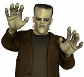 stock photo of inhumane  - 3 d cartoon halloween horror Frankenstein - JPG