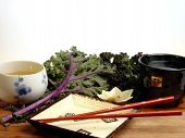 Japanese Dishes And Red Kale