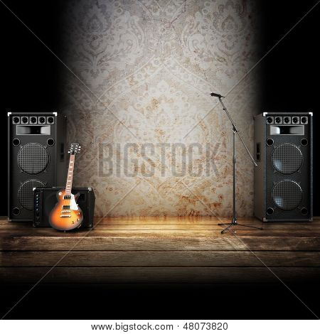 Music stage or singing background poster