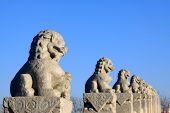 Stone Lion Sculptures In Seventeen Holes Bridge Railing