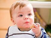 Cute Little Baby Boy Eating Bread