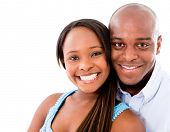 Beautiful portrait of a happy couple �?�¢?? isolated over white