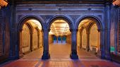stock photo of pedestrians  - The pedestrian underpass at Bethesda Terrace - JPG