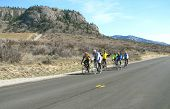 Spring Cyclists In Training On Road