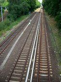 Die Draufsicht auf Gleisen